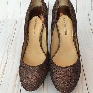 EUC Gianni Bini Copper Glitter Heels Size 9